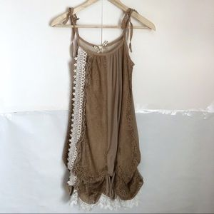 ✨Rose Bowe Brown and White Lace Tie Strap Dress